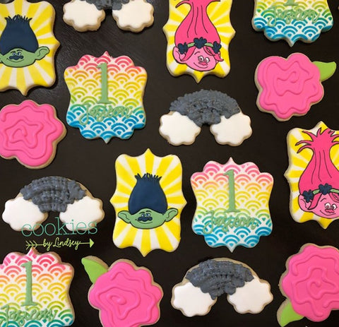 Trolls Cookies made with Rainbow Pattern Cookie Stencil