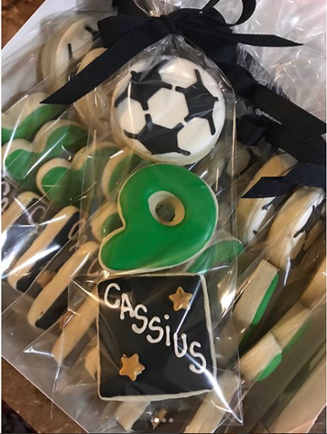 Soccer themed cookies made with Soccer Cookie Stencil
