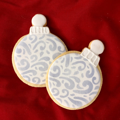 Swirly Lines Pattern Stencil on ornament cookies