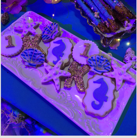 Under the Sea themed cookies made with Wavy Water Cookie Stencil