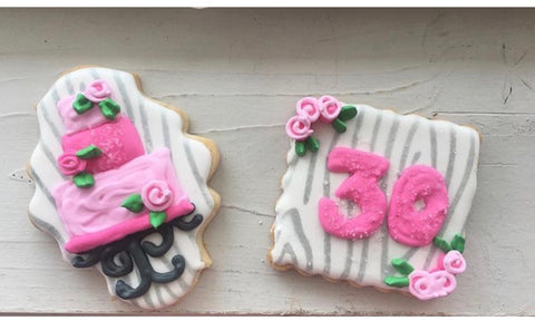 30th birthday cookies with Wood Grain Cookie Stencil as background design