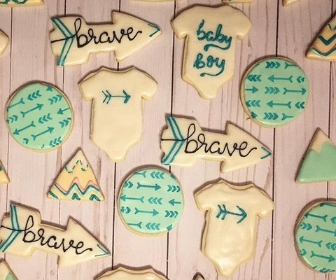 Baby boy shower cookies made with our Arrows Bohemian Cookie Stencil