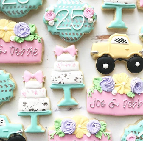 Truck themed wedding cookies made with Tire Track Cookie Stencil