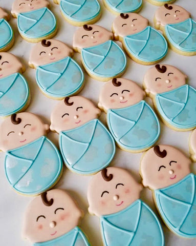 Baby Shower cookies made with Bunny Pattern Cookie Stencil