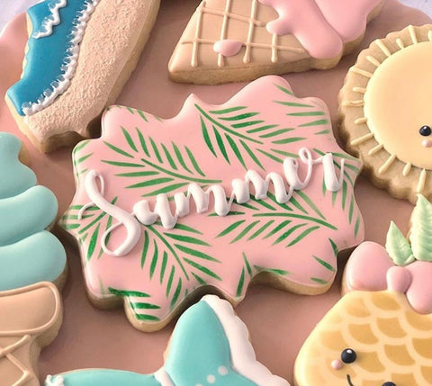 Summer Cookies made with Palm Leaves Pattern Cookie Stencil