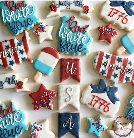 Fourth of July Cookies made with Stars and Stripes 2 Piece Stencil Set