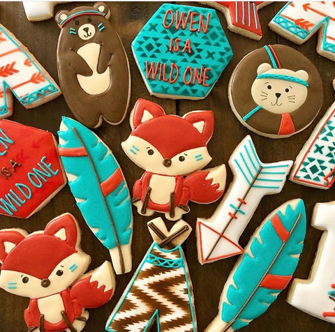 Wild One Birthday Cookies made with Tribal Print Cookie Stencil