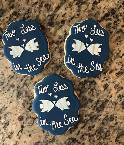 Wedding Cookies made with Angel Fish Kiss Cookie Stencil
