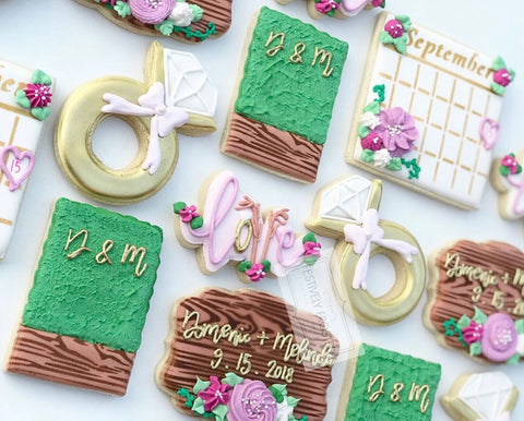 Save the Date Wedding Cookies made with 12 Month Calendar Cookie Stencil