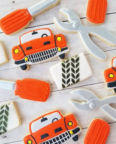 Car Cookies made with Tire Track Cookie Stencil