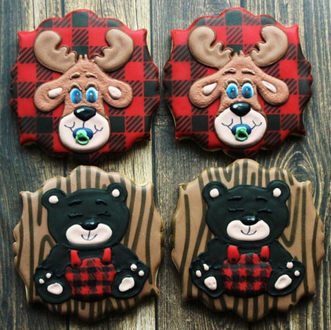 Lumberjack Baby Cookies Made with Wood Grain and Buffalo Plaid Cookie Stencils