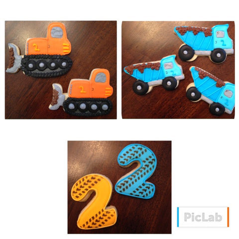 Construction Birthday themed cookies made with Tire Track Cookie Stencil