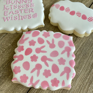Bunny Kisses Easter Wishes Cookie Stencil bakeartstencil