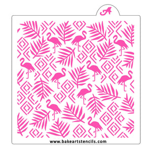 Flamingo Deco Pattern Cookie Stencil bakeartstencil
