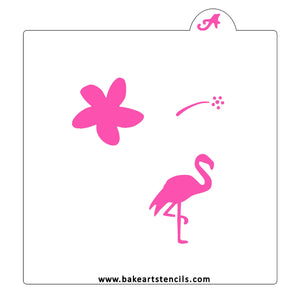 Flower and Flamingo Cookie Stencil bakeartstencil