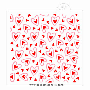 Full Hearts Pattern Stencil Set bakeartstencil