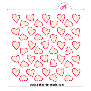 Highlighted Hearts Pattern Stencil Set bakeartstencil