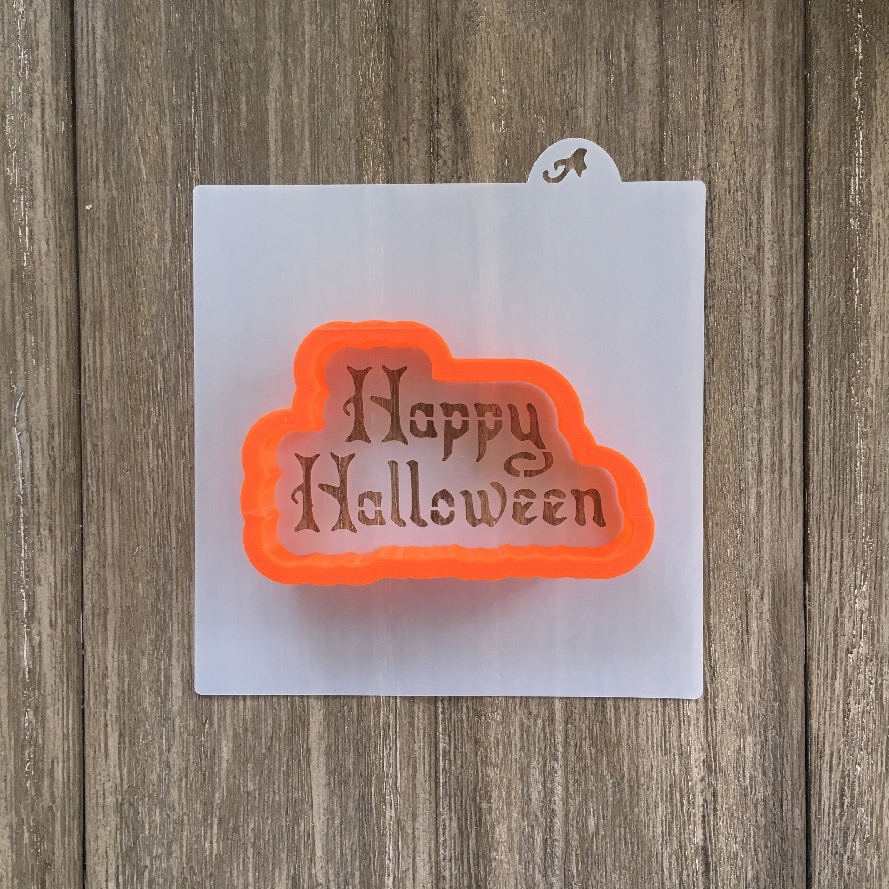 happy halloween cookie stencil with cookie cutter