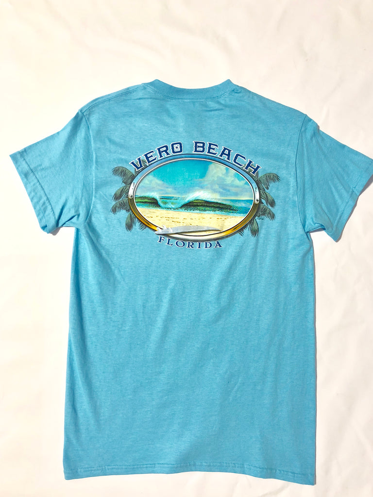 Perfect Peak Wave Surfboard Men's Tee T-Shirt Short Sleeve Vero Beach Florida FL