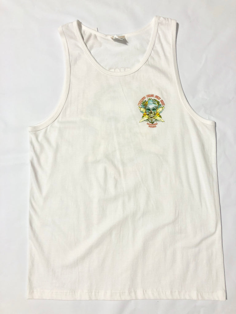 Crossed Surfboards Skull Men's Tank Top Sebastian FL Wabasso Beach Surf Shop