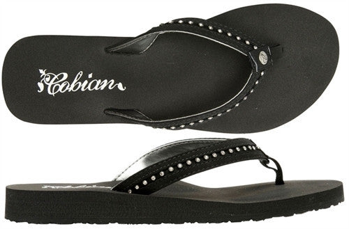 Cobian Women's Cartier Skinny Bounce Sandals Flip Flops Black