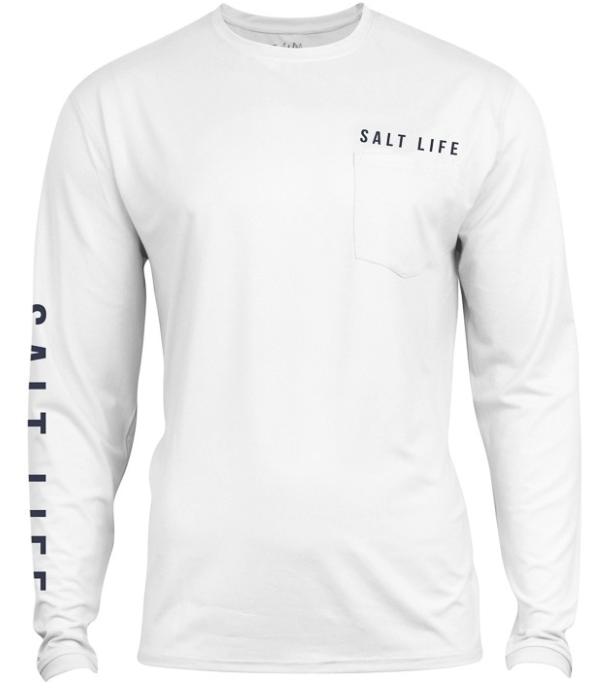 Salt Life Men's Calm Waters Badge Long Sleeve Sun Shirt Pocket Tee T-Shirt