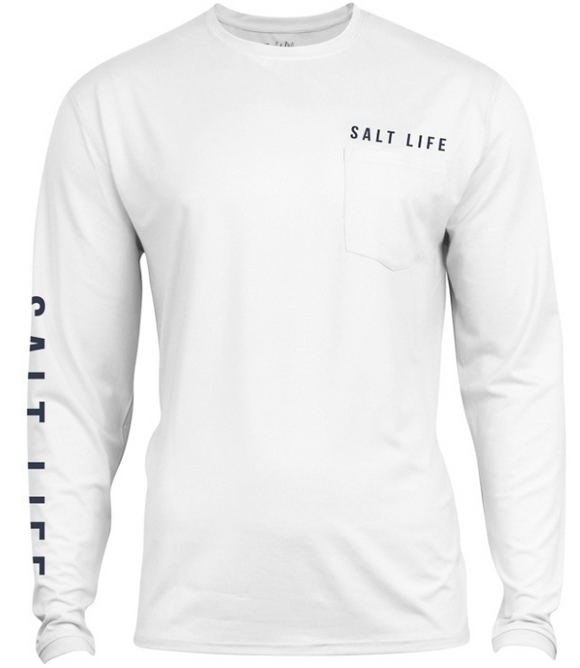 be53b2f1 ... Salt Life Men's Calm Waters Badge Long Sleeve Sun Shirt Pocket Tee T- Shirt