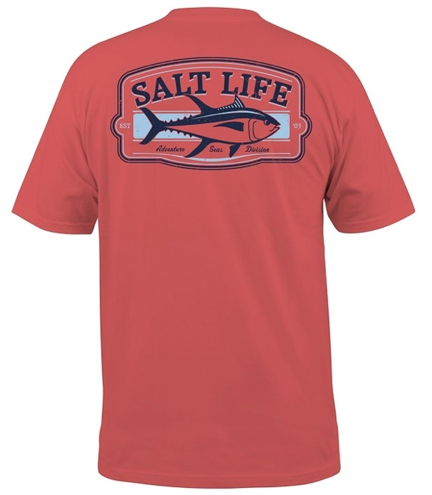 Salt Life Men's Adventure Seas Short Sleeve 30s Pocket Crew Neck Tee T-Shirt
