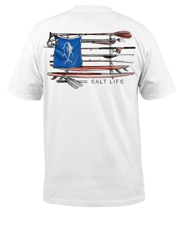 Salt Life Men's Salt Quiver Short Sleeve 30s Pocket Crew Neck Tee T-Shirt