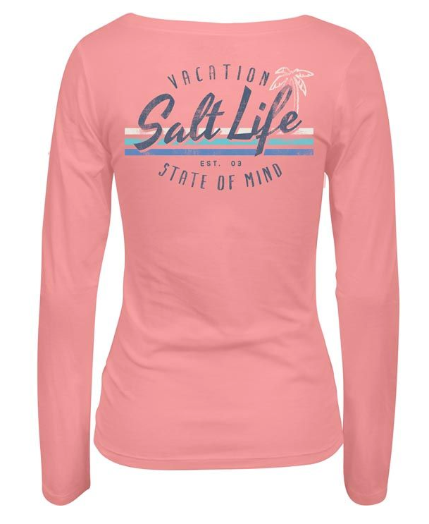 Salt Life Women's Vacay State of Mind Long Sleeve Scoop Neck Tee T-Shirt