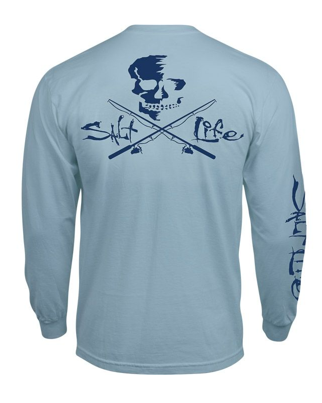Salt Life Men's Skull & Poles Long Sleeve Pocket Tee T-Shirt