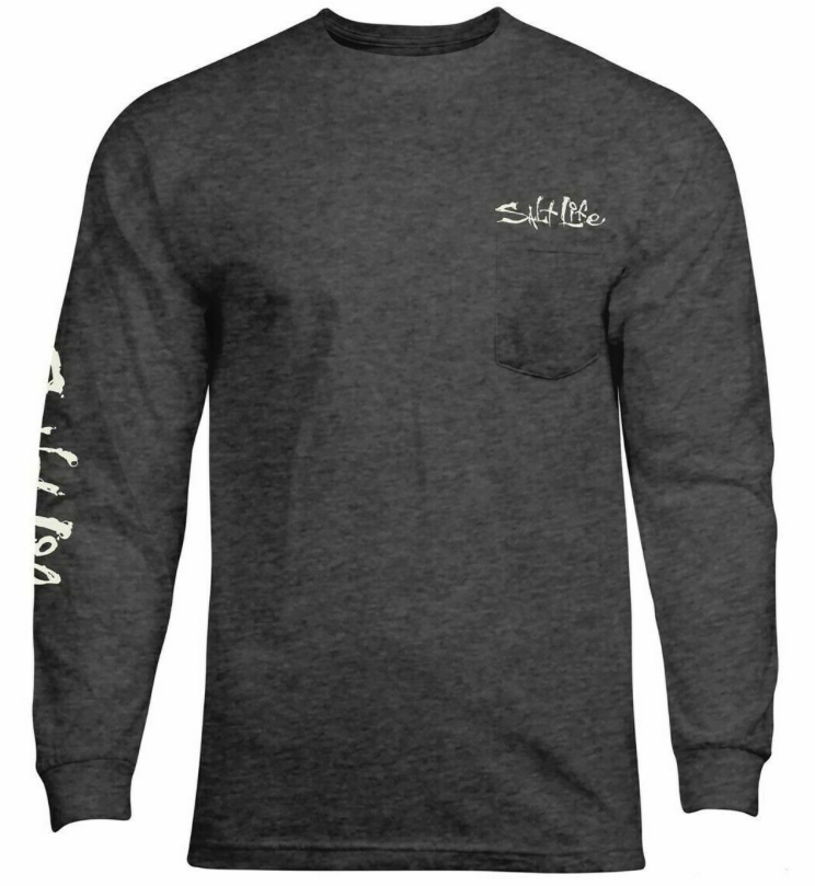 Salt Life Men's Aquaholic Flags Long Sleeve Tee T-Shirt
