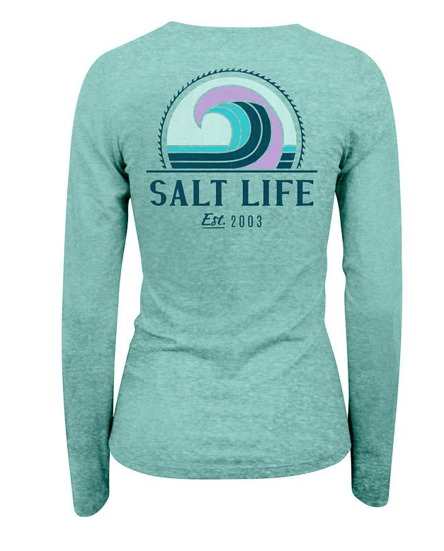 Salt Life Women's Retro Wave Tri-Blend V-Neck Long Sleeve Tee T-Shirt