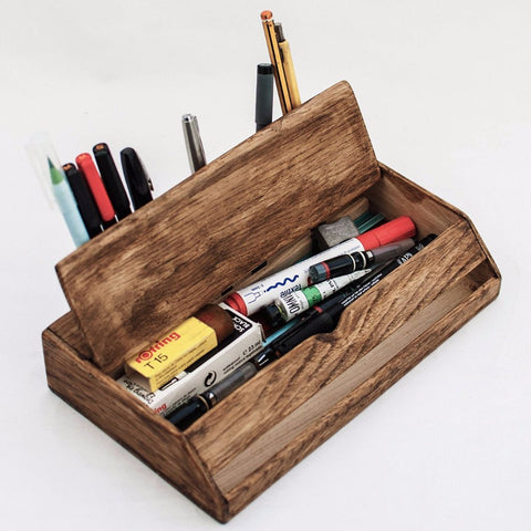 Vintage Wooden Desk Organizer by Oitenta on OOSTOR.com