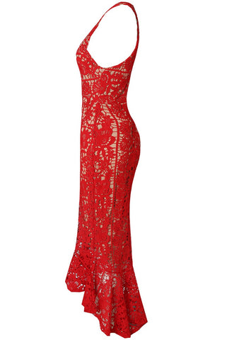 Floral Crochet Midi Dress With Fishtail Hem in Red & Nude by Veermode on OOSTOR.com