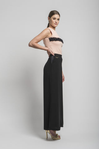 Sofia Wide Leg Trouser in Black by CoCo VeVe on OOSTOR.com