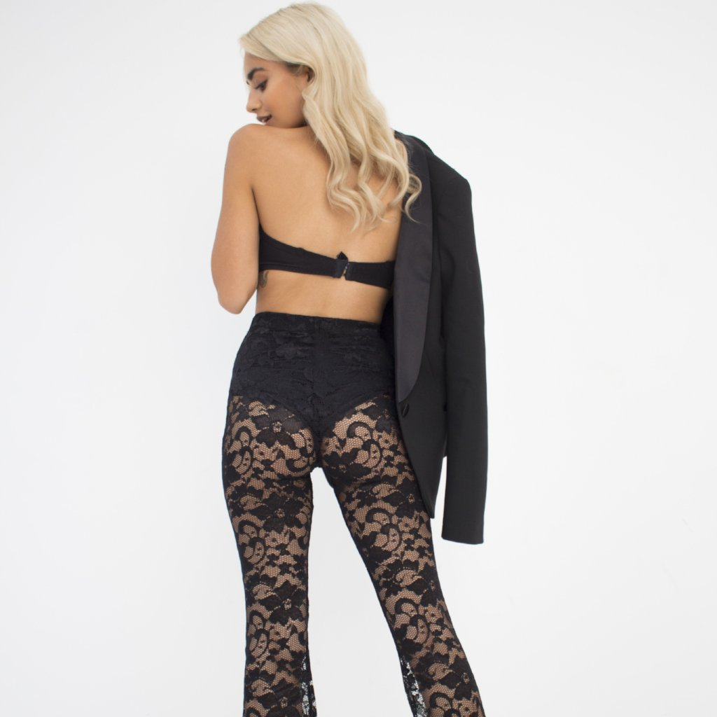 Flirty Black Lace Flares by Wired Angel Ltd on OOSTOR.com