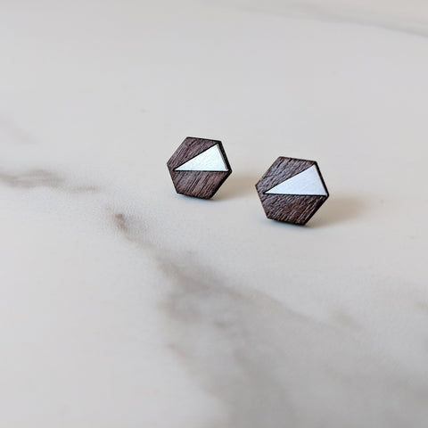 The Elsa - Brass Stud Earrings by form.london on OOSTOR.com