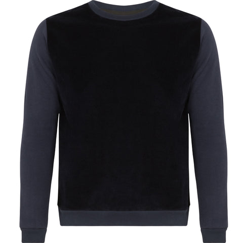 Navy Blue Cotton Cashmere Sweater by Tress Clothing on OOSTOR.com