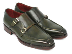 Paul Parkman Men's Double Monkstrap Goodyear Welted Shoes Green by PAUL PARKMAN on OOSTOR.com