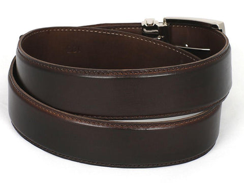 PAUL PARKMAN Men's Leather Belt Hand-Painted Dark Brown by PAUL PARKMAN on OOSTOR.com