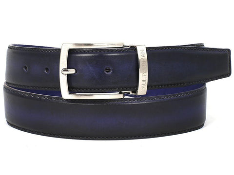 PAUL PARKMAN Men's Leather Belt Dual Tone Navy & Blue by PAUL PARKMAN on OOSTOR.com