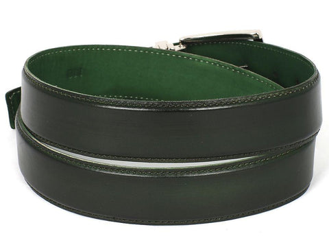 PAUL PARKMAN Men's Leather Belt Hand-Painted Dark Green by PAUL PARKMAN on OOSTOR.com
