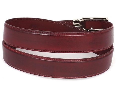 PAUL PARKMAN Men's Leather Belt Hand-Painted Bordeaux by PAUL PARKMAN on OOSTOR.com