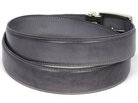 PAUL PARKMAN Men's Leather Belt Hand-Painted Gray by PAUL PARKMAN on OOSTOR.com