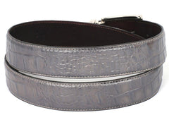 PAUL PARKMAN Men's Crocodile Embossed Calfskin Leather Belt Hand-Painted Gray by PAUL PARKMAN on OOSTOR.com
