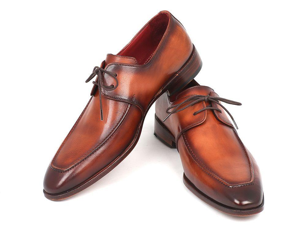 Paul Parkman Brown Leather Apron Derby Shoes by PAUL PARKMAN on OOSTOR.com
