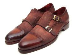 Paul Parkman Men's Captoe Double Monkstrap Antique Brown Suede by PAUL PARKMAN on OOSTOR.com