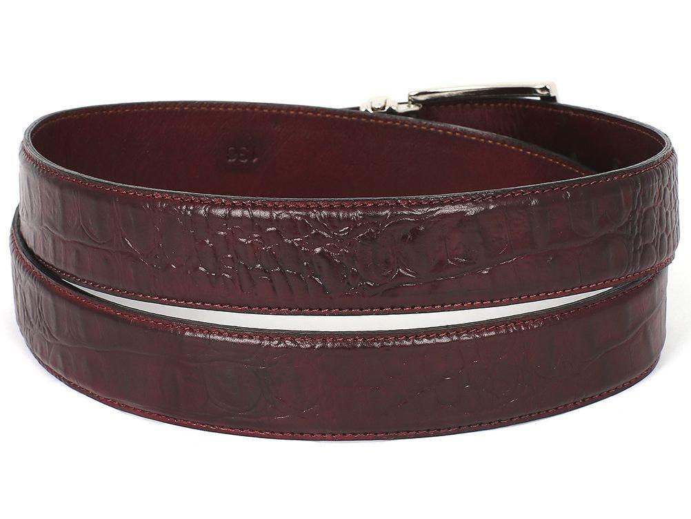 PAUL PARKMAN Men's Croc Embossed Calfskin Belt Dark Bordeaux by PAUL PARKMAN on OOSTOR.com