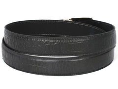 PAUL PARKMAN Men's Crocodile Embossed Calfskin Leather Belt Hand-Painted Black by PAUL PARKMAN on OOSTOR.com